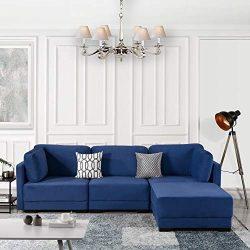 Navy Blue Modular Sectional Sofa Couch Convertible Sofa Sectional Reversible Chaise Ottoman 3 Pi ...