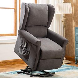 ANJ Power Lift Recliner Chair with Massage – Living Room Chair, Smoky Gray