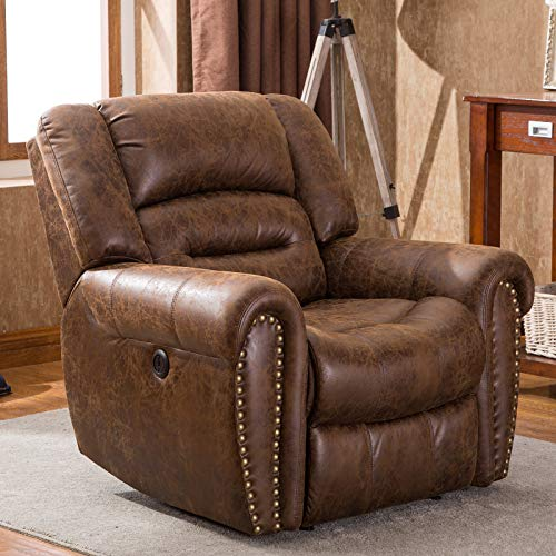 ANJ Electric Recliner Chair W/Breathable Bonded Leather, Classic Single Sofa Home Theater Reclin ...