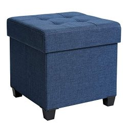 SONGMICS Storage Ottoman, Padded Folding Bench, Chest with Lid, Solid Wood Feet, Space-Saving, H ...
