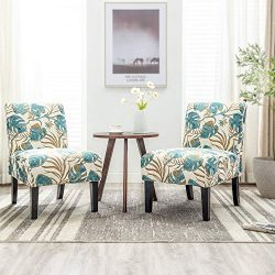 Altrobene Armless Jacquard Fabric Accent Chairs Set of 2 Living Room Office Reception Side Chair ...