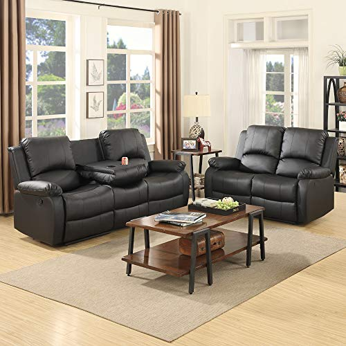 Mecor Bonded Leather Sofa Sets,Reclining Sofa and Chair Living Room Furniture(2 Seat+3 Seat, Black)