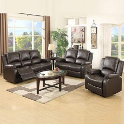 Mecor 3 Piece Sofa Set Bonded Leather Reclining Sofa Motion Sofa with 3-Seat Sofa, Loveseat and  ...