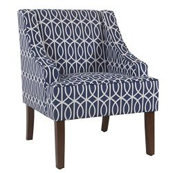 HomePop Swoop Arm Accent Chair, Blue Trellis
