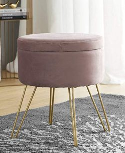 Ornavo Home Modern Round Velvet Storage Ottoman Foot Rest Stool/Seat with Gold Metal Legs &  ...