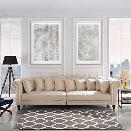 Classic Velvet Chesterfield Scroll Arm Large Living Room Sofa (Beige)