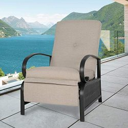 Ulax Furniture Patio Recliner Chair Automatic Adjustable Back Outdoor Lounge Chair with 100% Ole ...