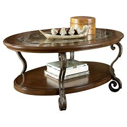 Ashley Furniture Signature Design – Nestor Glass Top Coffee Table – Cocktail Height  ...