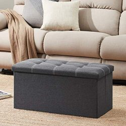 YOUDENOVA 30 inches Bench Storage Ottoman, Foldable Storage Chest with Memory Foam Seat, Footres ...