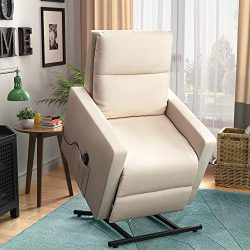 Power Lift Chair Recliner for Elderly Soft and Warm Fabric, with Remote Control for Living Room  ...