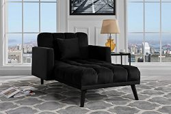 Sofamania Modern Velvet Fabric Recliner Sleeper Chaise Lounge – Futon Sleeper Single Seate ...