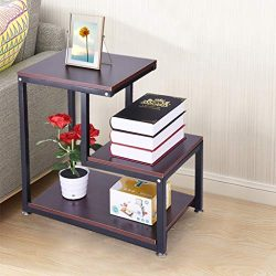 Sodoop Nightstand Storage Shelf, 3-Tier Chair Side Table Metal Night Stand Lamp Coffee Table for ...