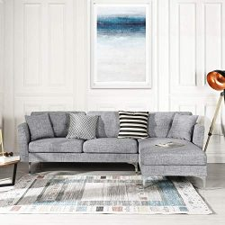 Grey Upholstered Linen Sectional Sofa Couch| Modern L-Shape Sectional, Sectional Sofas and Couch ...