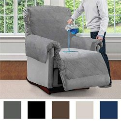 MIGHTY MONKEY Premium Slip and Water Resistant Recliner Slipcover, Seat Width Up to 26 Inch, Oek ...