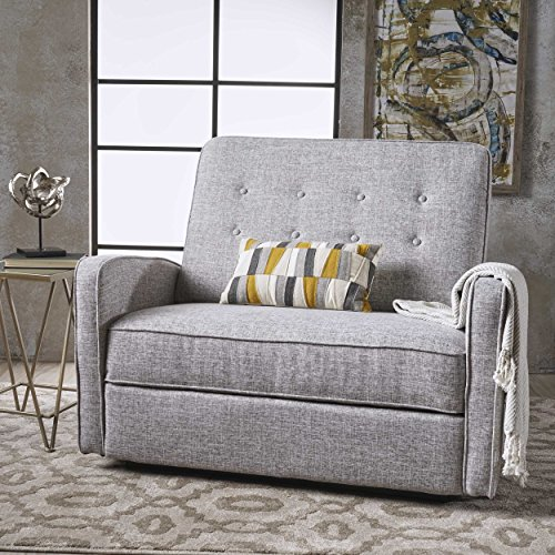 Christopher Knight Home 301529 Callade Reclining Loveseat Tweed, Light Grey