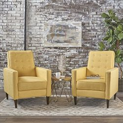 Christopher Knight Home 301378 Mason Mid-Century Modern Tuft Back Recliner (Qty of 2, Fabric/Mut ...