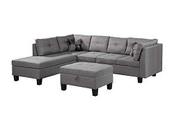 Hooseng 3-Piece Sectional Sofa with Chaise Lounge with 1 X 3-seat, 1 X Storage Ottoman, 7 X Back ...