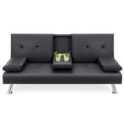 Walsunny Modern Faux Leather Couch, Futon Sofa ,Convertible Sofa Bed with Armrest & Fold Up ...
