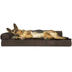 Furhaven Pet Dog Bed | Deluxe Orthopedic Plush Faux Fur & Velvet L Shaped Chaise Lounge Livi ...