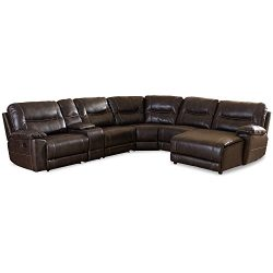 Baxton Studio Gilles Modern & Contemporary Bonded Leather 6 Piece Sectional with Recliners C ...