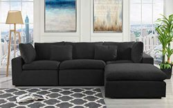 Configurable Sectional Sofa Couch, Convertible Sofa Sectional w/Reversible Chaise Ottoman, 3 Pie ...