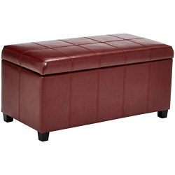 First Hill Damara Lift-Top Storage Ottoman Bench with Faux-Leather Upholstery, Earthy Red