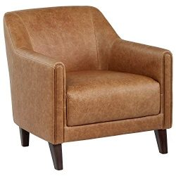 Stone & Beam Grover Modern Living Room Accent Chair, 30″W, Cognac Leather