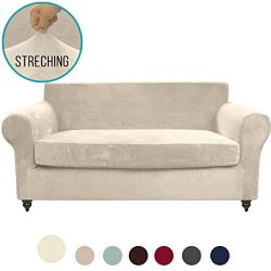 MOYMO 2-Piece Stretch Velvet Loveseat Slipcover,High Stretch Loveseat Cover,Slipcovers for couch ...