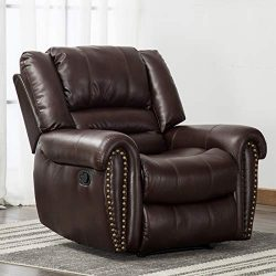 ANJ Leather Recliner Chair Breathable Bonded, Classic and Traditional 1 Seat Sofa Manual Recline ...