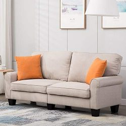Mecor Loveseat Sofa Linen Fabric Loveseat Couch 70 Inch Sofa with Scroll Arm Classic Modern Livi ...