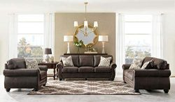 Acanva Contemporary Leathaire Leather Living Room Sofa Set, Walnut Brown