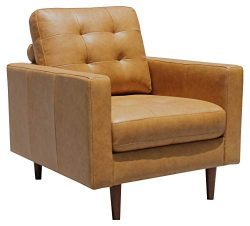 Rivet Cove Modern Tufted Accent Chair with Tapered Legs, Mid-Century, 32.7″W, Caramel