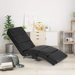 AECOJOY Massage Chaise Lounge Couch Black Modern Indoor Chaise Lounge Chair Living Room Chaise L ...
