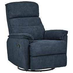 Ravenna Home Pull Recliner with Rotating 360 Swivel Glider,  Living Room Chair, Fabric, Blue