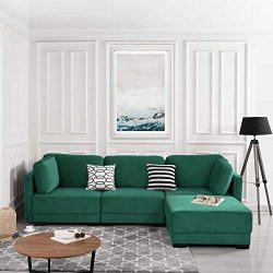 Green Modular Sectional Sofa Couch Convertible Sofa Sectional w/Reversible Chaise Ottoman, 3 Pie ...