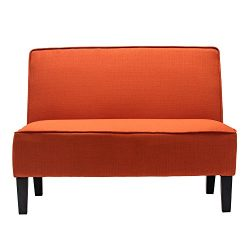 Cushioned Linen Armless Settee Loveseat Sofa Couch Home Casual Living Room Recliner (Orange)