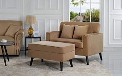 Casa Andrea Milano Modern Velvet Upholstered Lounge Accent Chair – Coffee Brown Single Sea ...