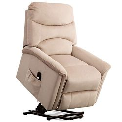 ANJ Lift Recliner Power Lift Chair Soft and Warm Fabric with Remote Control for Gentle Motor, Buff