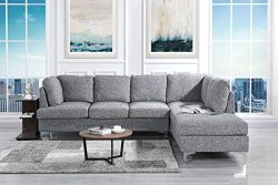 Tufted Linen 101.1″ inch Sectional Sofa, Classic Living Room L-Shape Couch (Light Grey)
