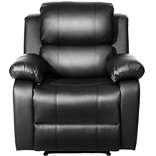 MIERES Barwick PU Heated Massage Recliner Sofa Ergonomic Lounge with 8 Vibration Motors, (Black),