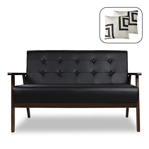 Mid-Century Modern Solid Loveseat Sofa Upholstered Fabric Couch 2-Seat Wood Armchair Living Room ...