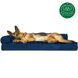 Furhaven Pet Dog Bed | Deluxe Orthopedic Plush Faux Fur & Velvet L Shaped Chaise Lounge Livi ...