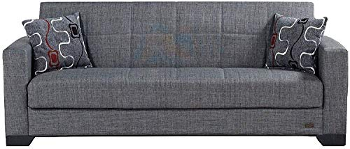 BEYAN SB 2019 Smoke Vermont Modern Chenille Fabric Upholstered Convertible Sofa Bed with Storage ...