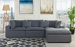 Configurable Sectional Sofa Couch Convertible Sofa Sectional with Reversible Chaise Ottoman 3 Pi ...