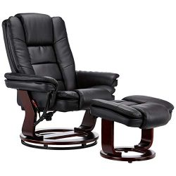 JC Home 70788 Contemporary Black Leather Recliner and Ottoman with Swiveling Mahogany Wood Base