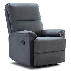 ANJ Manual Recliner, Living Room Reclining Chair Soft and Warm Grey