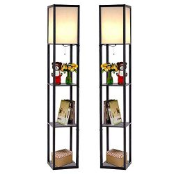 Safstar Modern LED Shelf Floor Lamp w/ 3 Storage Shelves for Lighting Home Living Room Bedroom,  ...