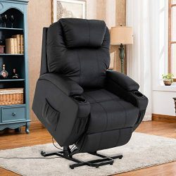 Mecor Power Lift Recliner Chair for Elderly Electric Lifting Chair Bonded Leather Sofa Chair wit ...