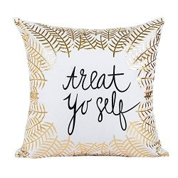HAPPIShare Gold Foil Printing Pillow Case Sofa Waist Throw Cushion Cover Home Decor 18 x 18 Inch