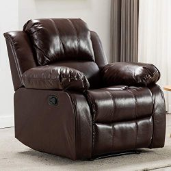 Bonzy Home Overstuffed Recliner Leather Heavy Duty Manual Recliner Chair – Home Theater Se ...